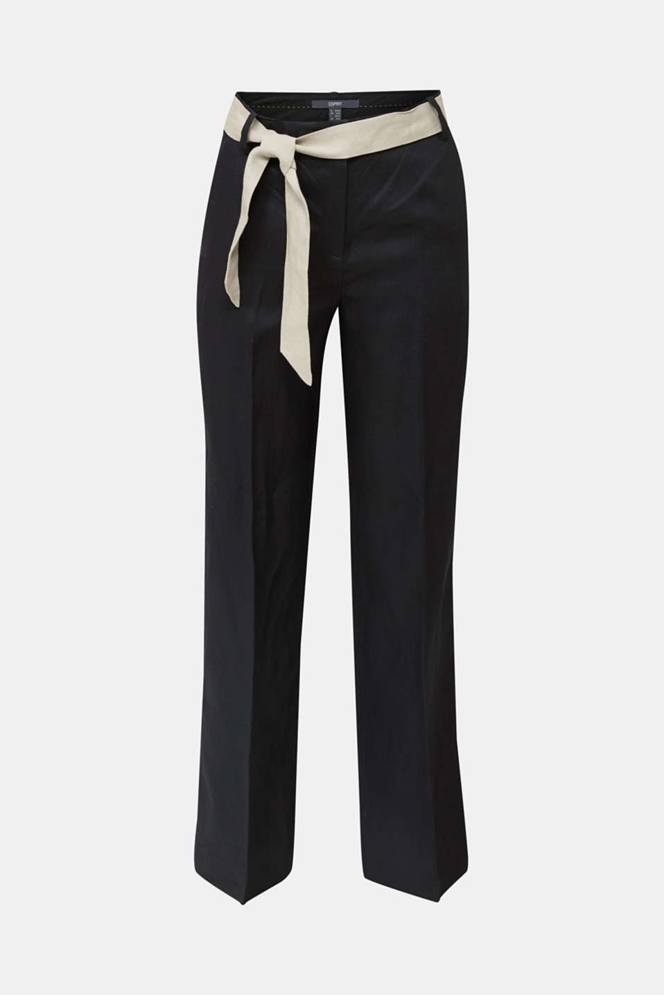 100% linen: wide trousers with a belt, BLACK, detail image number 6