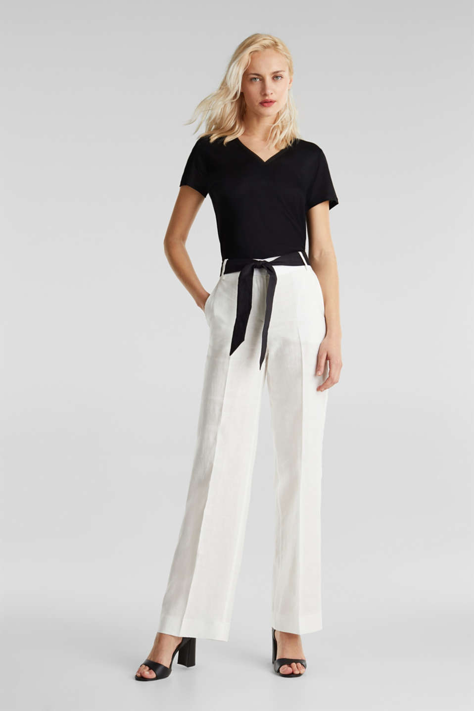 100% linen: wide trousers with a belt, OFF WHITE, detail image number 0