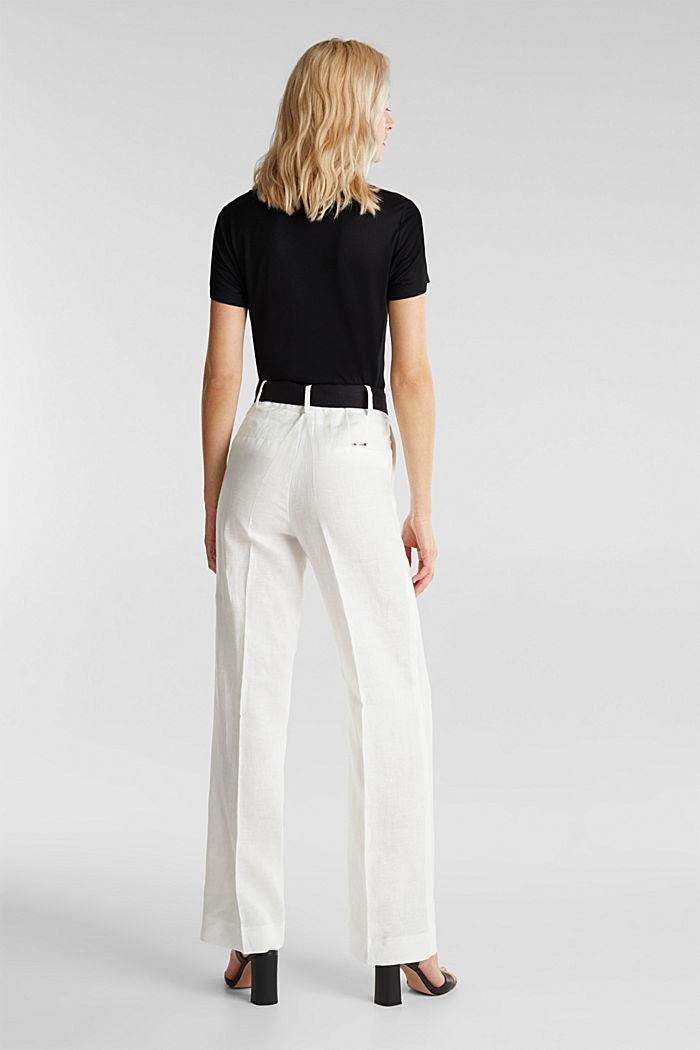 100% Leinen: weite Hose mit Gürtel, OFF WHITE, detail image number 3