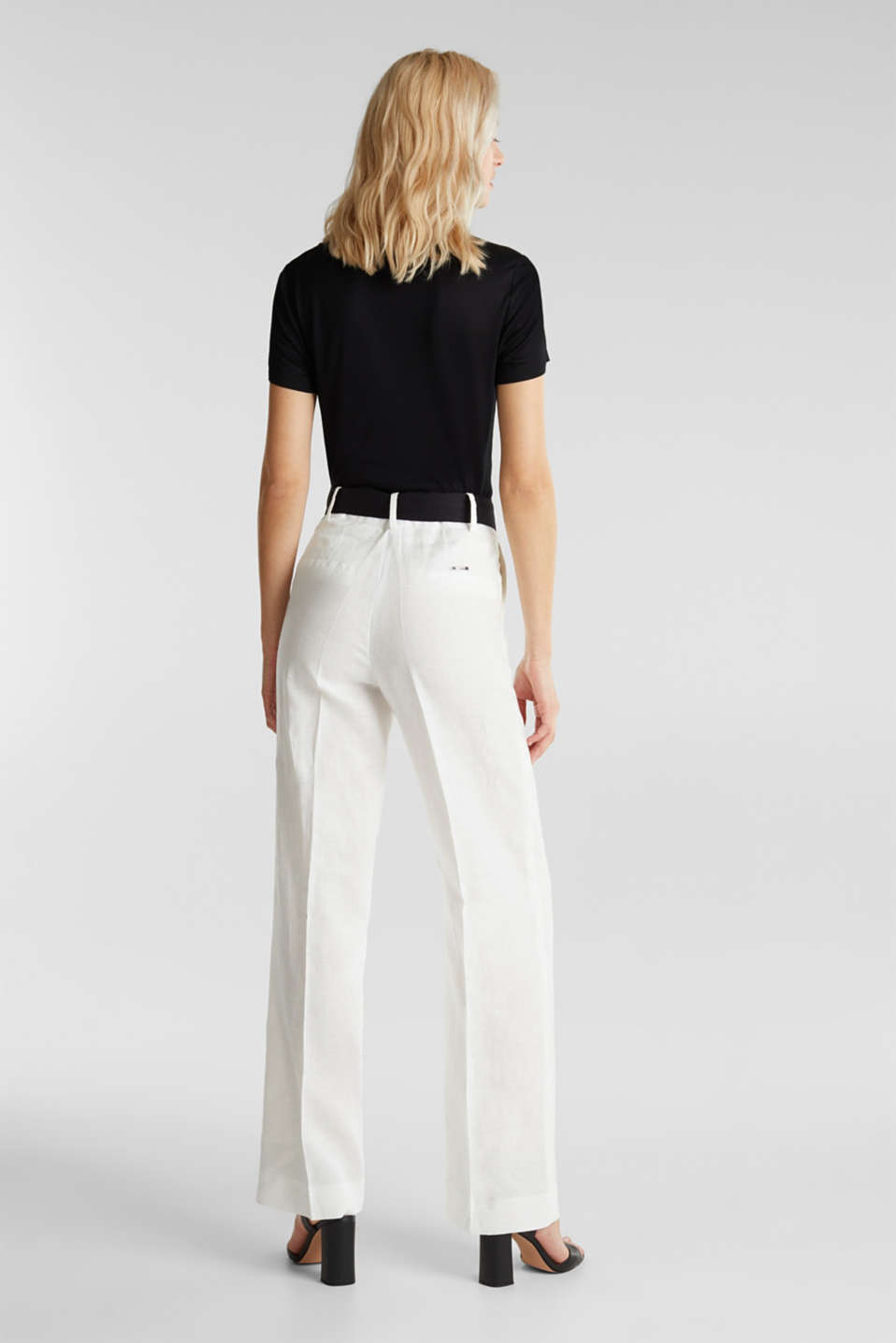 100% linen: wide trousers with a belt, OFF WHITE, detail image number 3