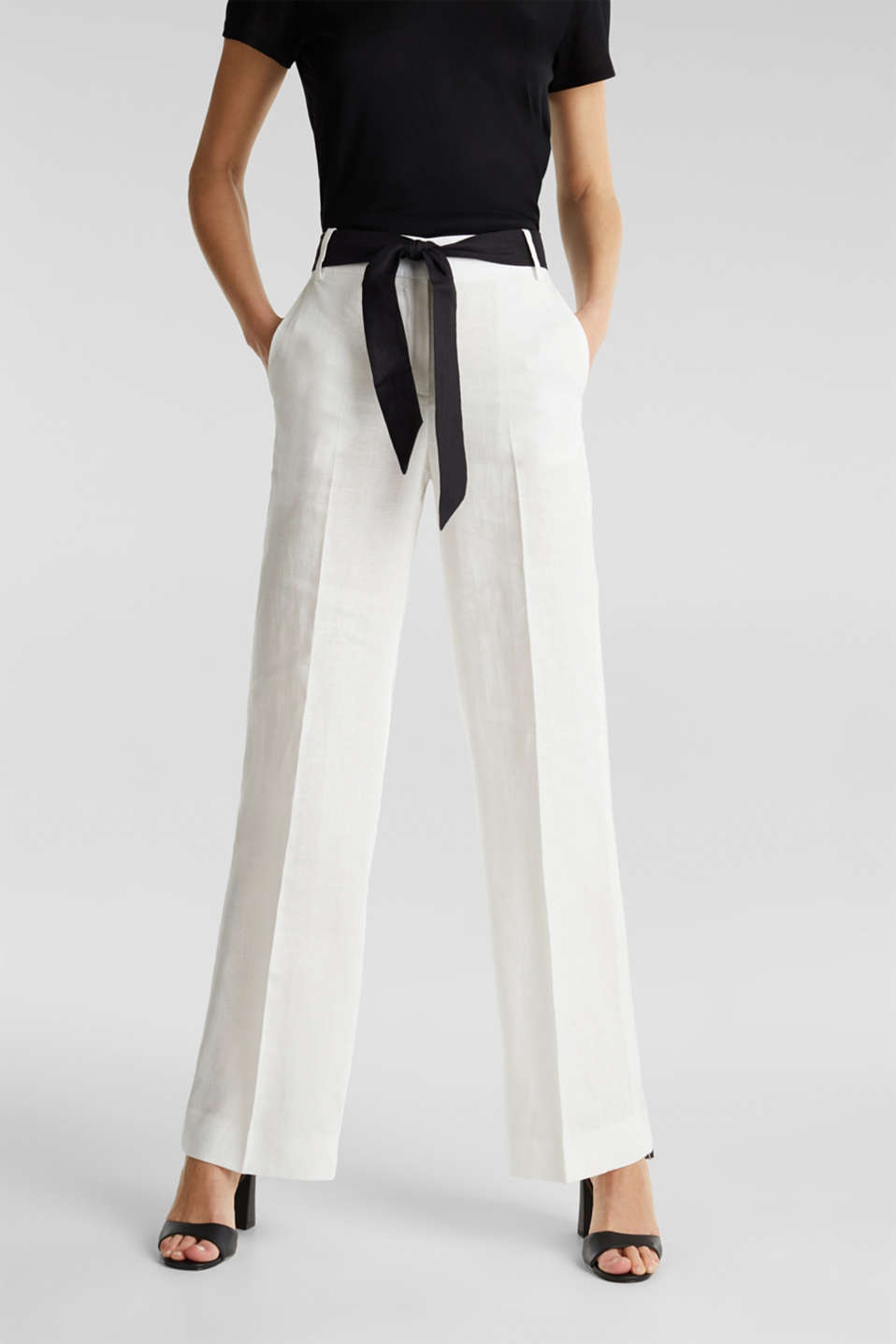 100% linen: wide trousers with a belt, OFF WHITE, detail image number 5