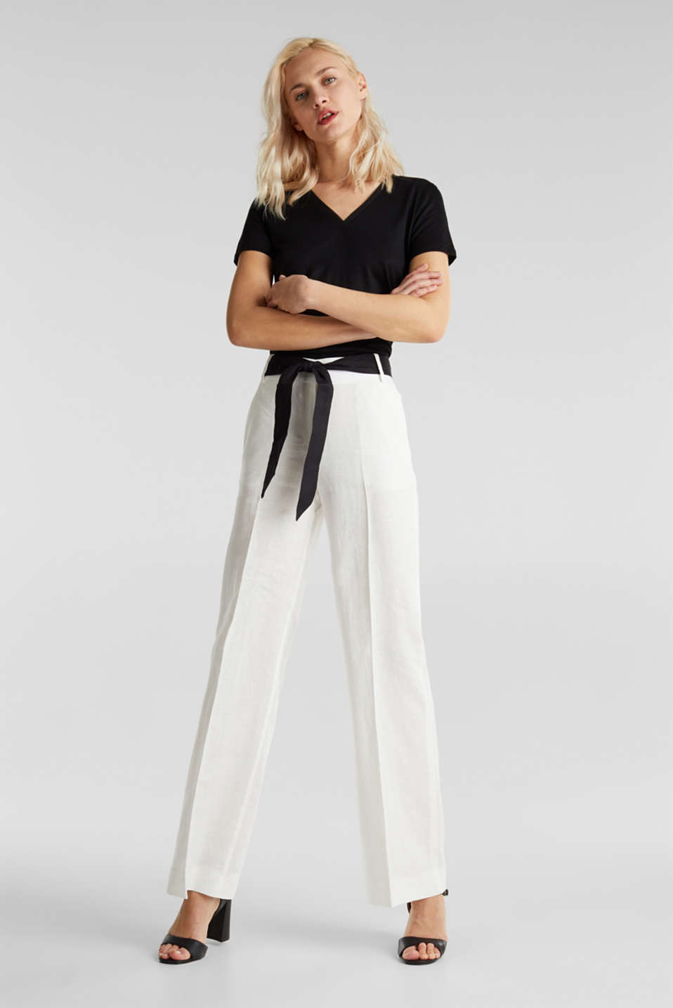 100% linen: wide trousers with a belt, OFF WHITE, detail image number 1