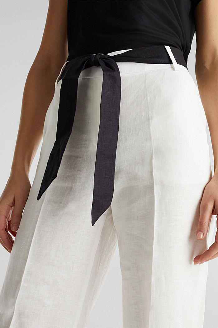 100% Leinen: weite Hose mit Gürtel, OFF WHITE, detail image number 2