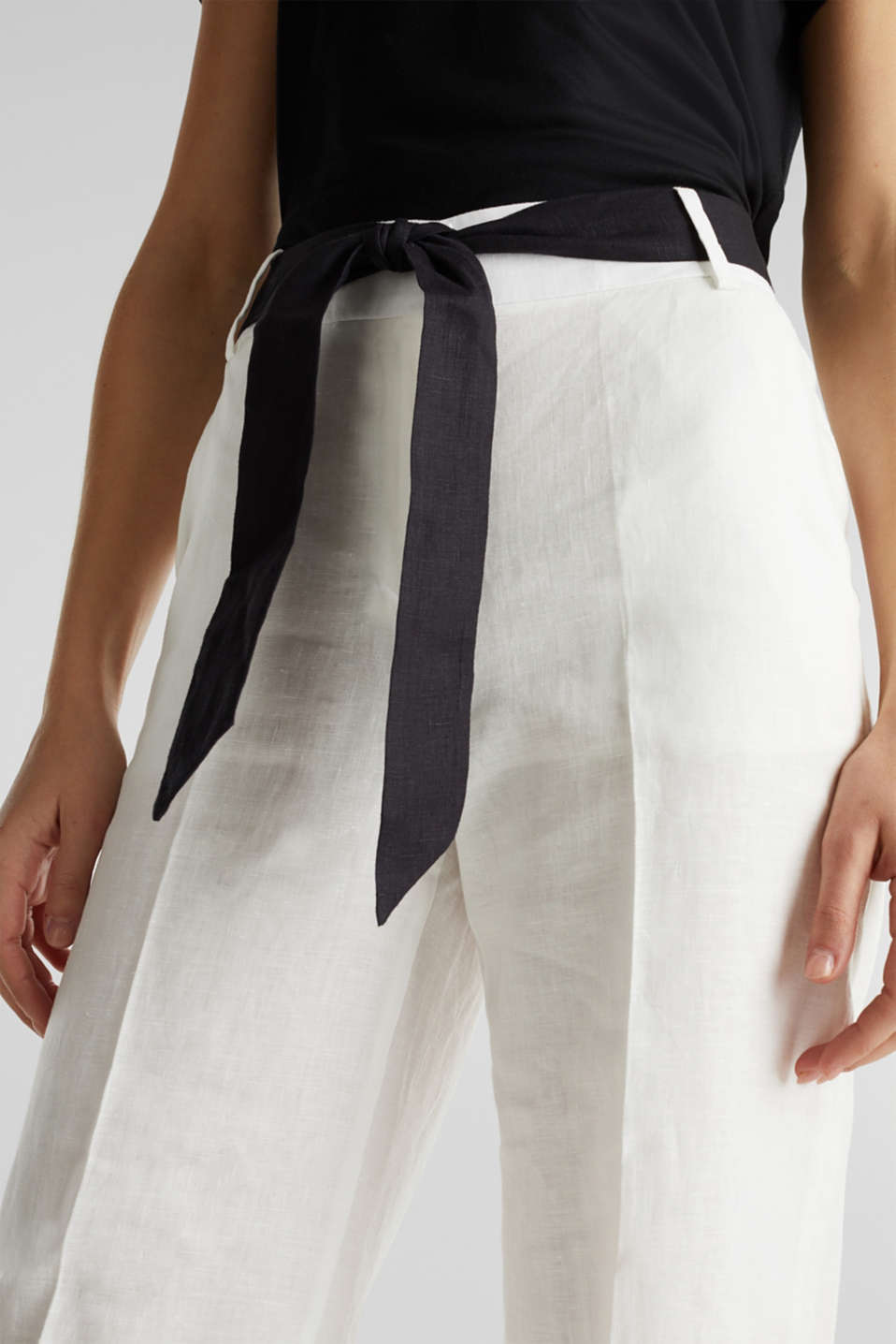 100% linen: wide trousers with a belt, OFF WHITE, detail image number 2