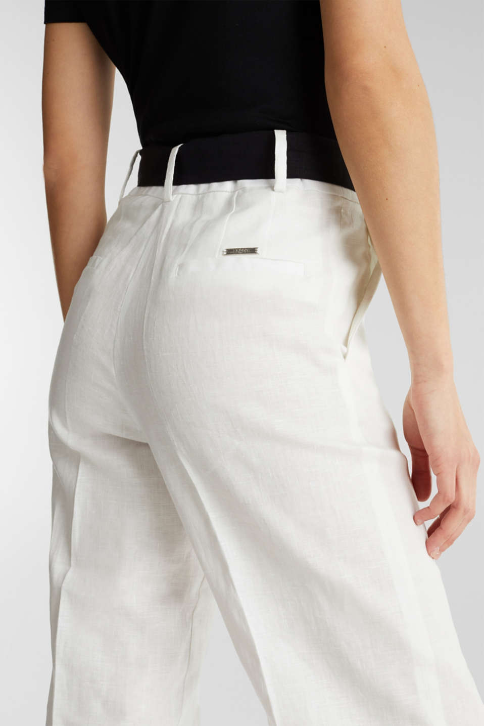 100% linen: wide trousers with a belt, OFF WHITE, detail image number 4