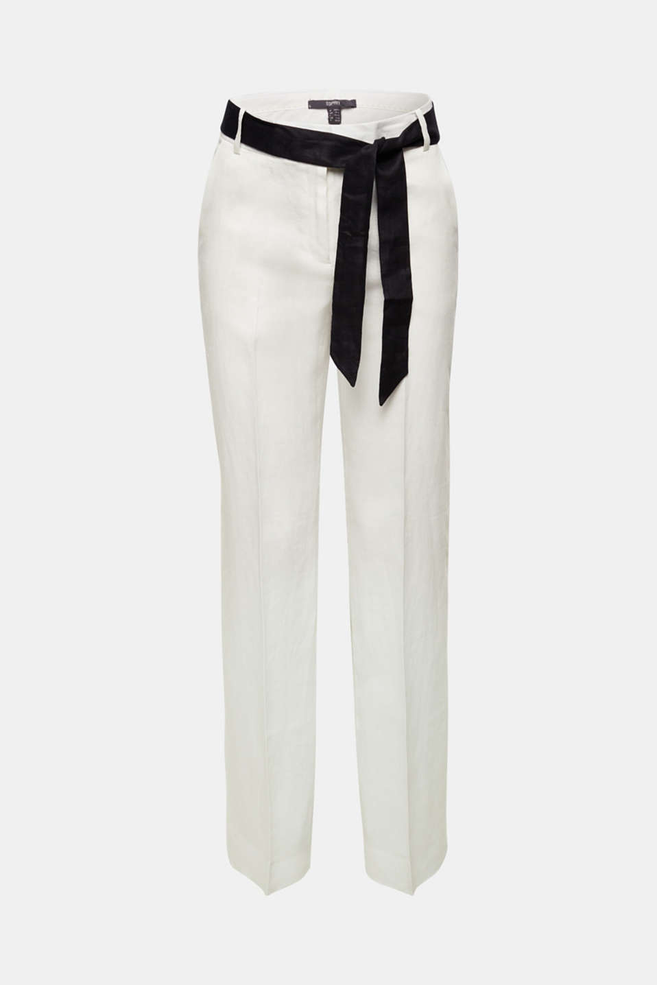 100% linen: wide trousers with a belt, OFF WHITE, detail image number 6