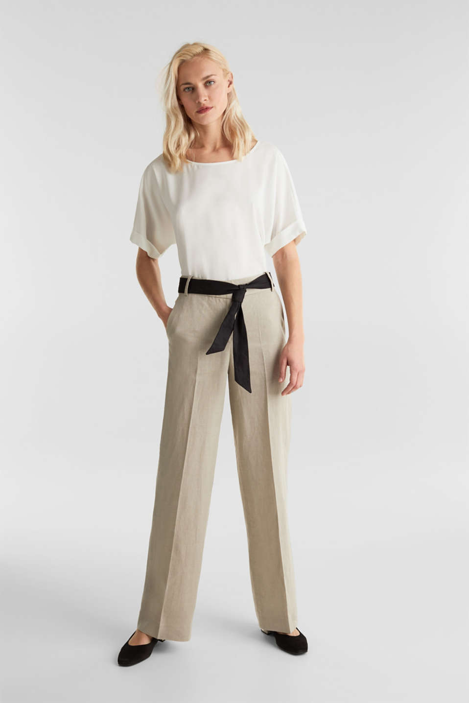 100% linen: wide trousers with a belt, BEIGE, detail image number 0