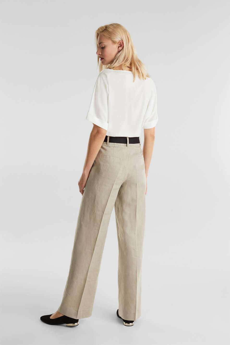 100% linen: wide trousers with a belt, BEIGE, detail image number 3