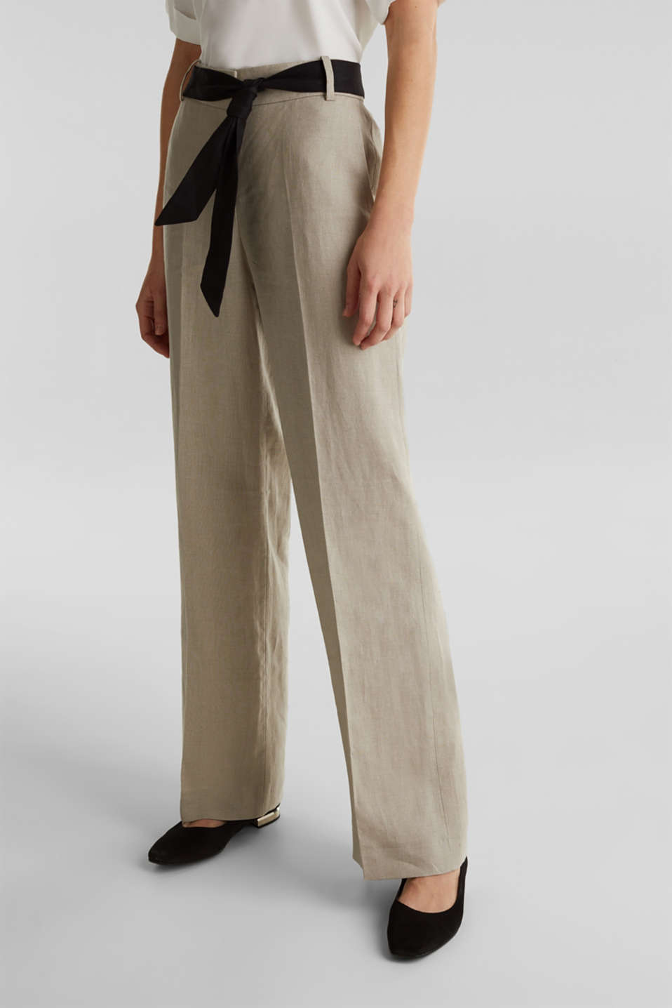100% linen: wide trousers with a belt, BEIGE, detail image number 6