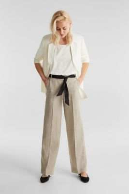 100% linen: wide trousers with a belt, BEIGE, detail