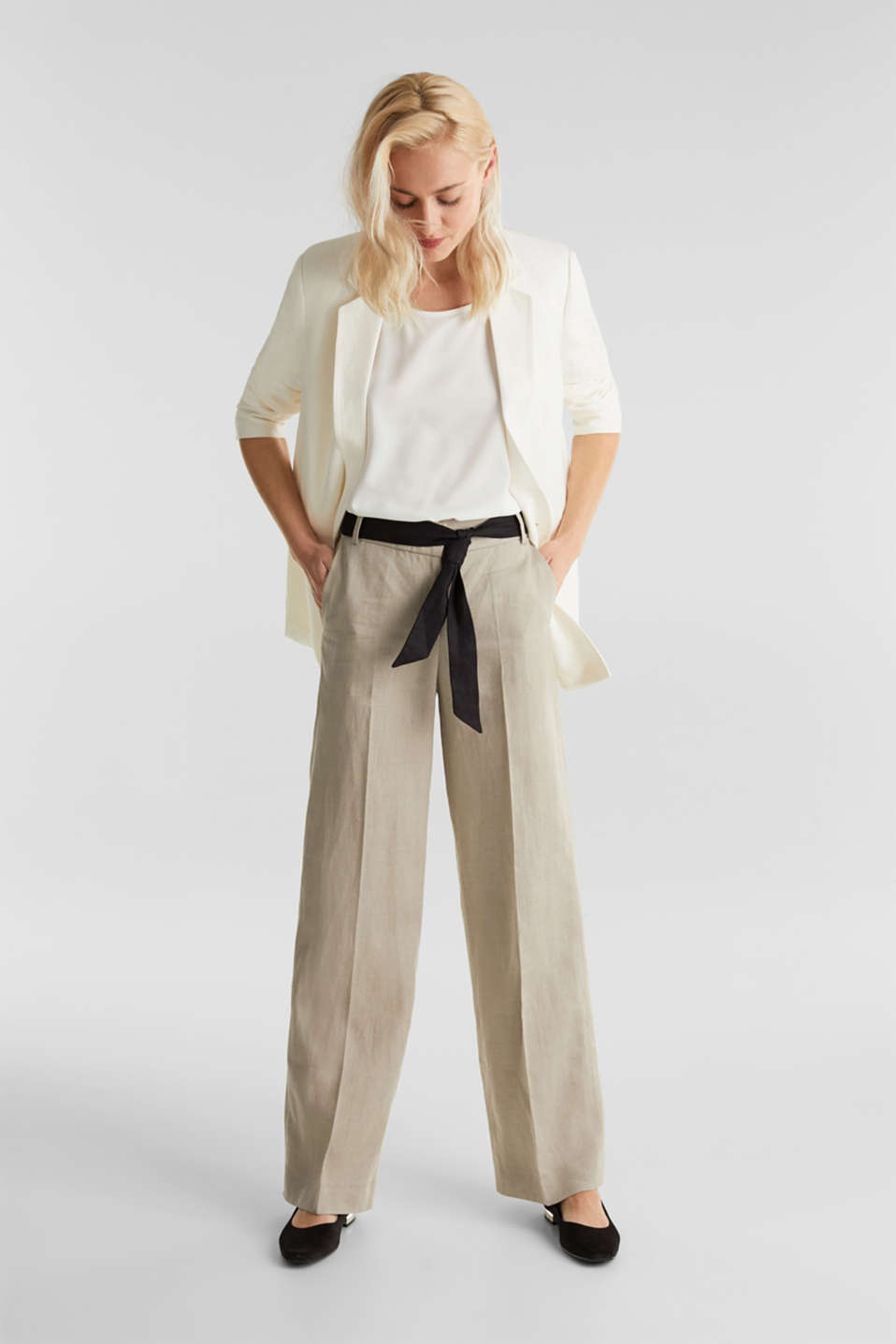 100% linen: wide trousers with a belt, BEIGE, detail image number 1