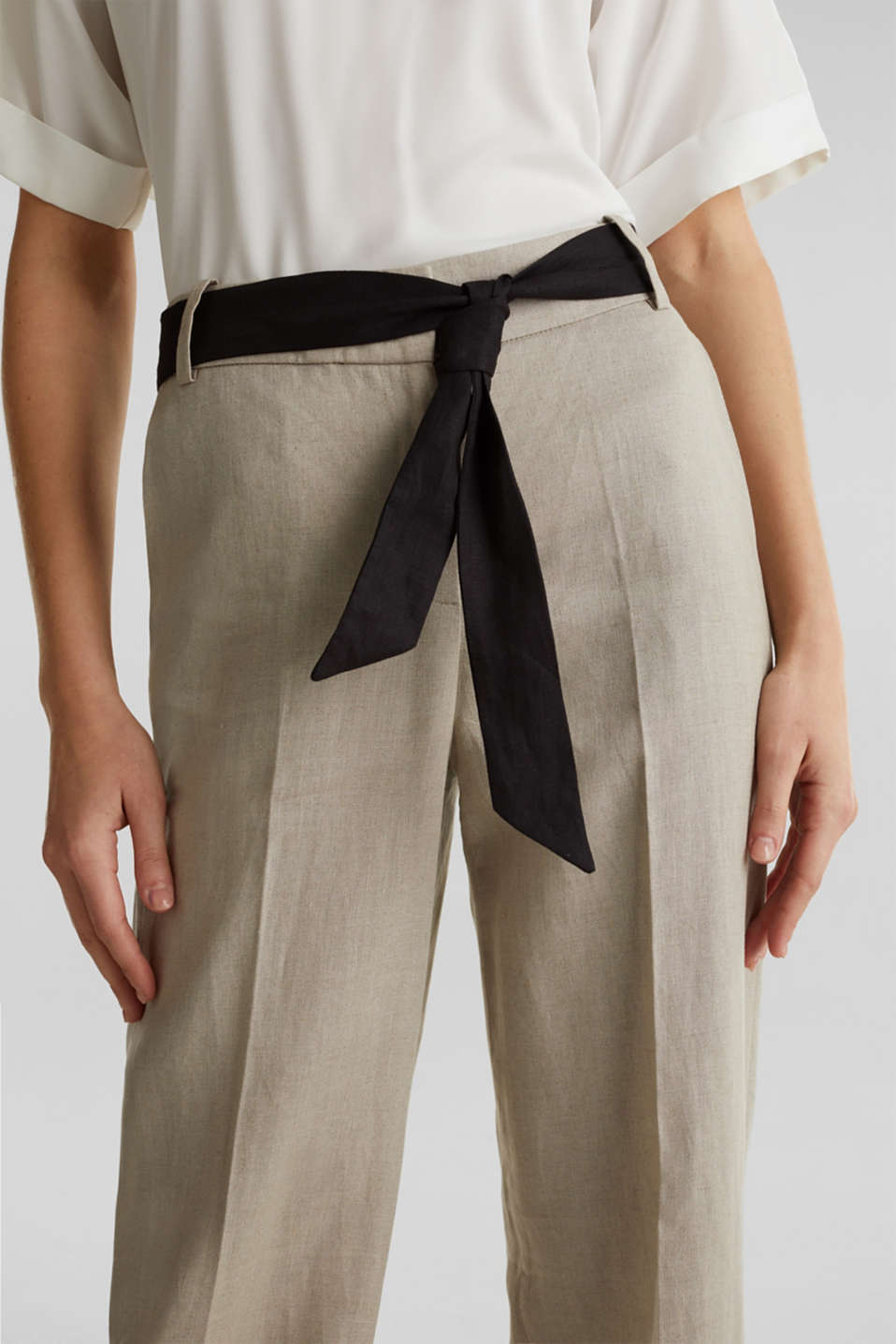 100% linen: wide trousers with a belt, BEIGE, detail image number 2