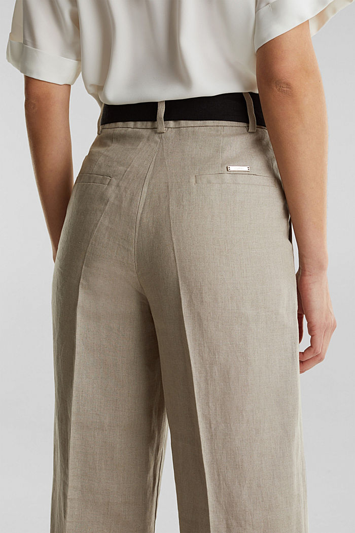 100% linen: wide trousers with a belt, BEIGE, detail image number 5