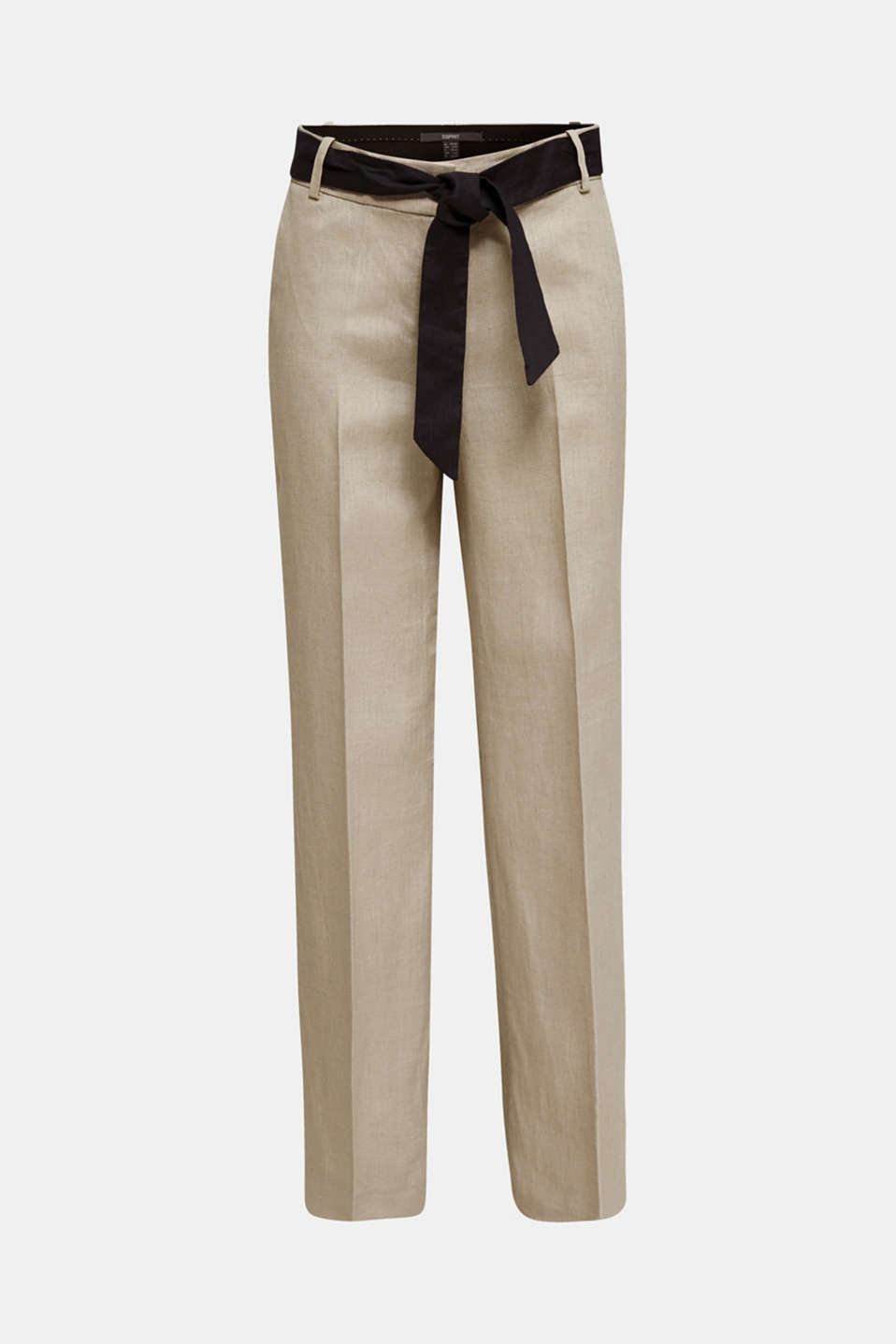 100% linen: wide trousers with a belt, BEIGE, detail image number 7