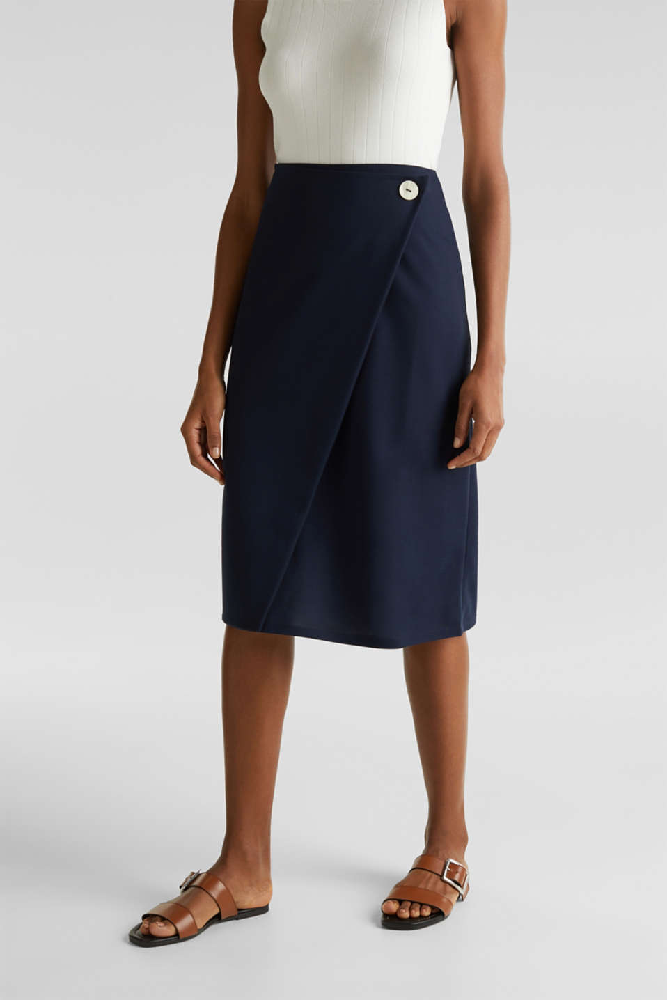 Esprit - Stretch jersey skirt with a wrap-over effect