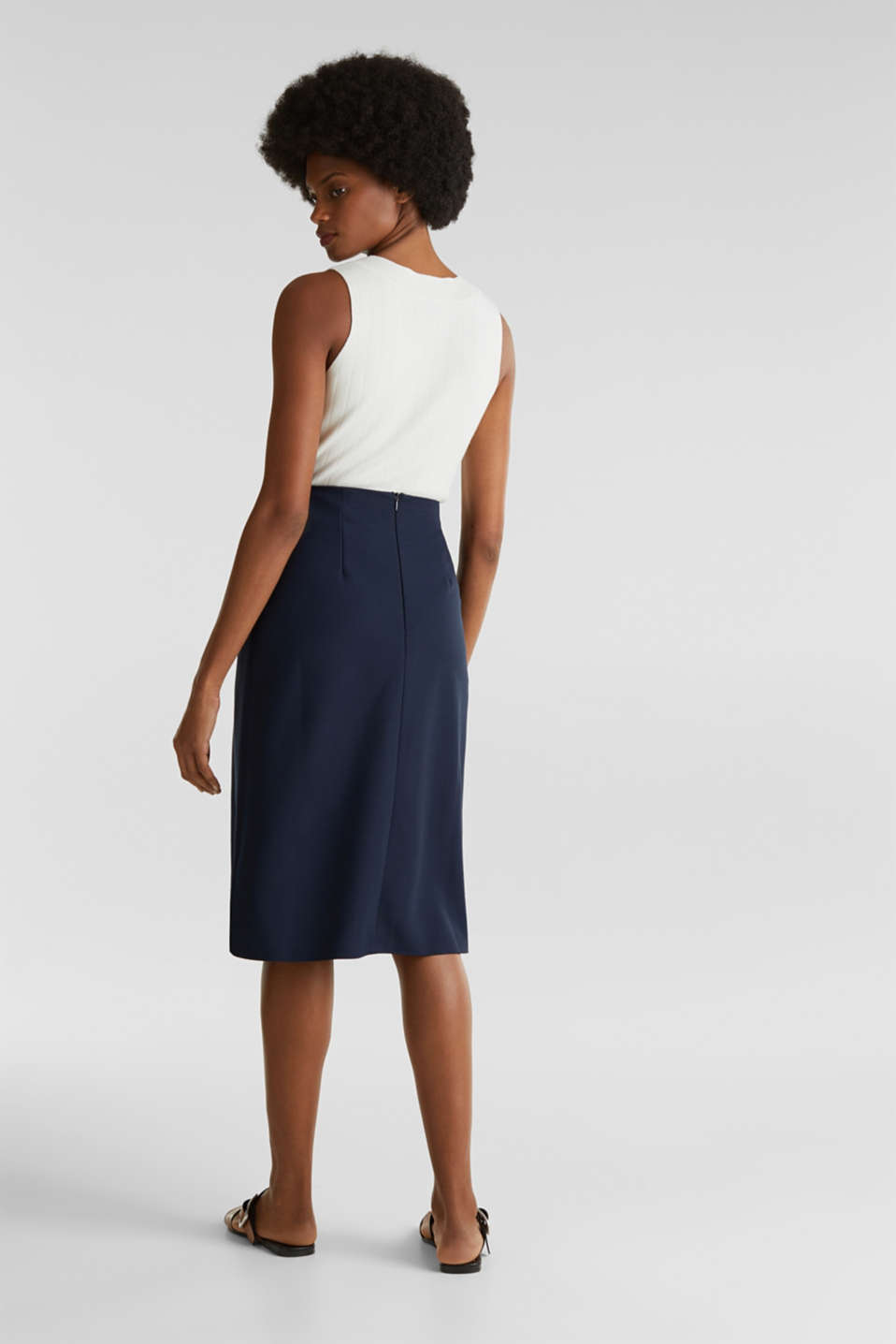 Stretch jersey skirt with a wrap-over effect, NAVY, detail image number 3