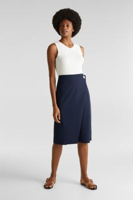 Stretch jersey skirt with a wrap-over effect, NAVY, detail