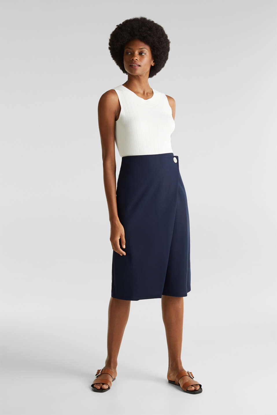 Stretch jersey skirt with a wrap-over effect, NAVY, detail image number 1