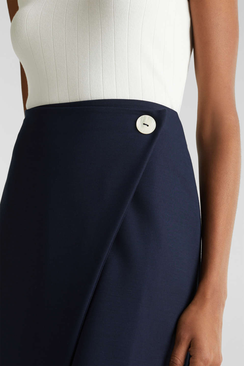 Stretch jersey skirt with a wrap-over effect, NAVY, detail image number 2