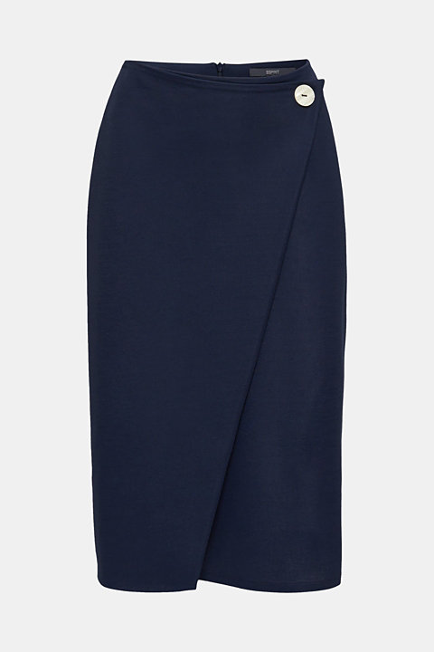 Stretch jersey skirt with a wrap-over effect