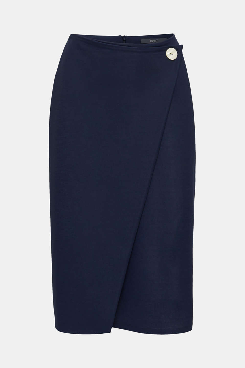 Stretch jersey skirt with a wrap-over effect, NAVY, detail image number 6