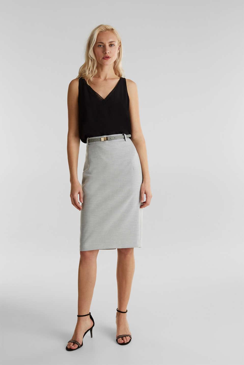 SUMMER BIZ Mix + Match stretch skirt, LIGHT GREY 5, detail image number 4