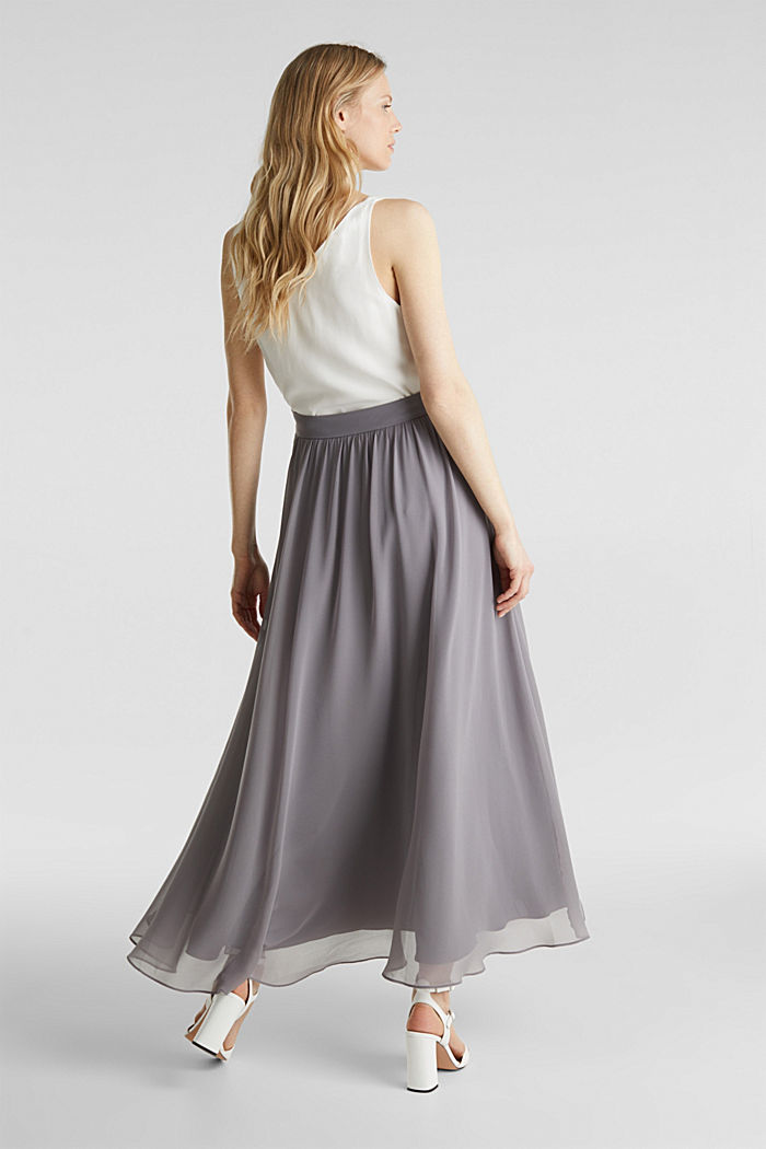 Chiffon maxi skirt, GREY, detail image number 3