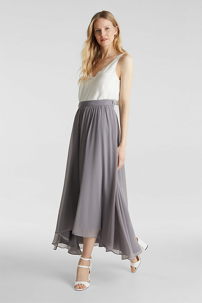 Chiffon maxi skirt, GREY, detail image number 1