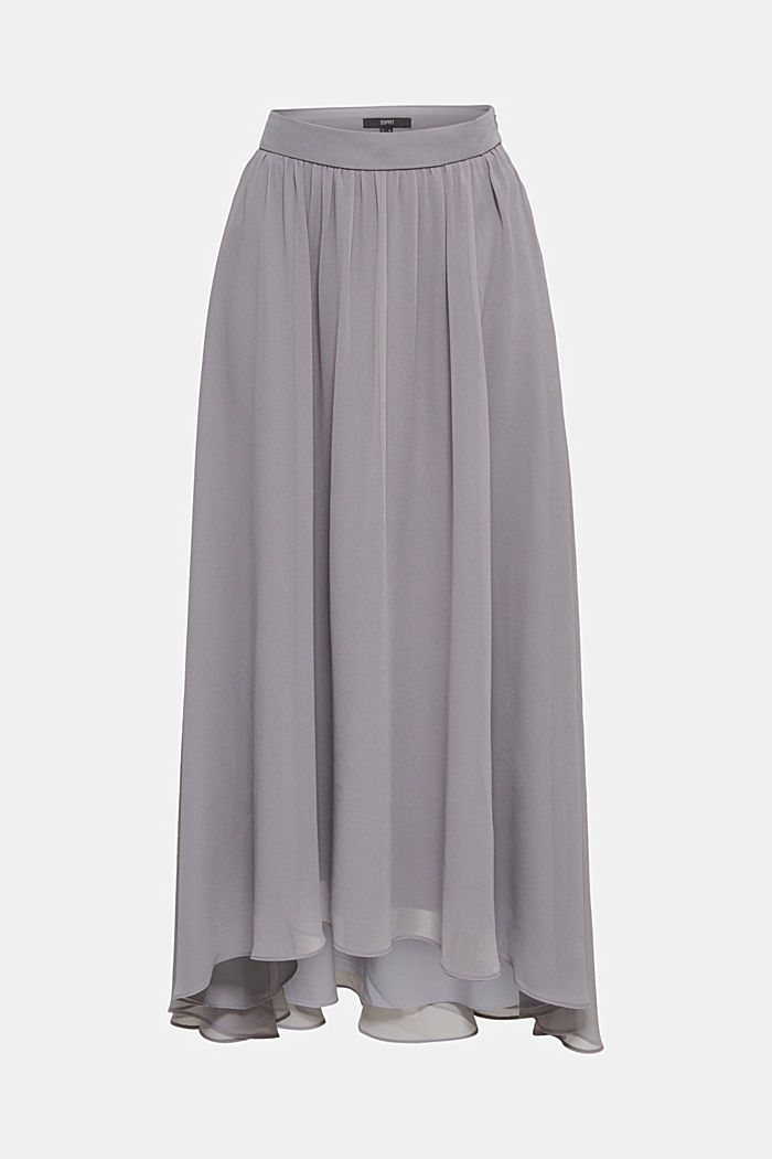 Chiffon maxi skirt, GREY, detail image number 5