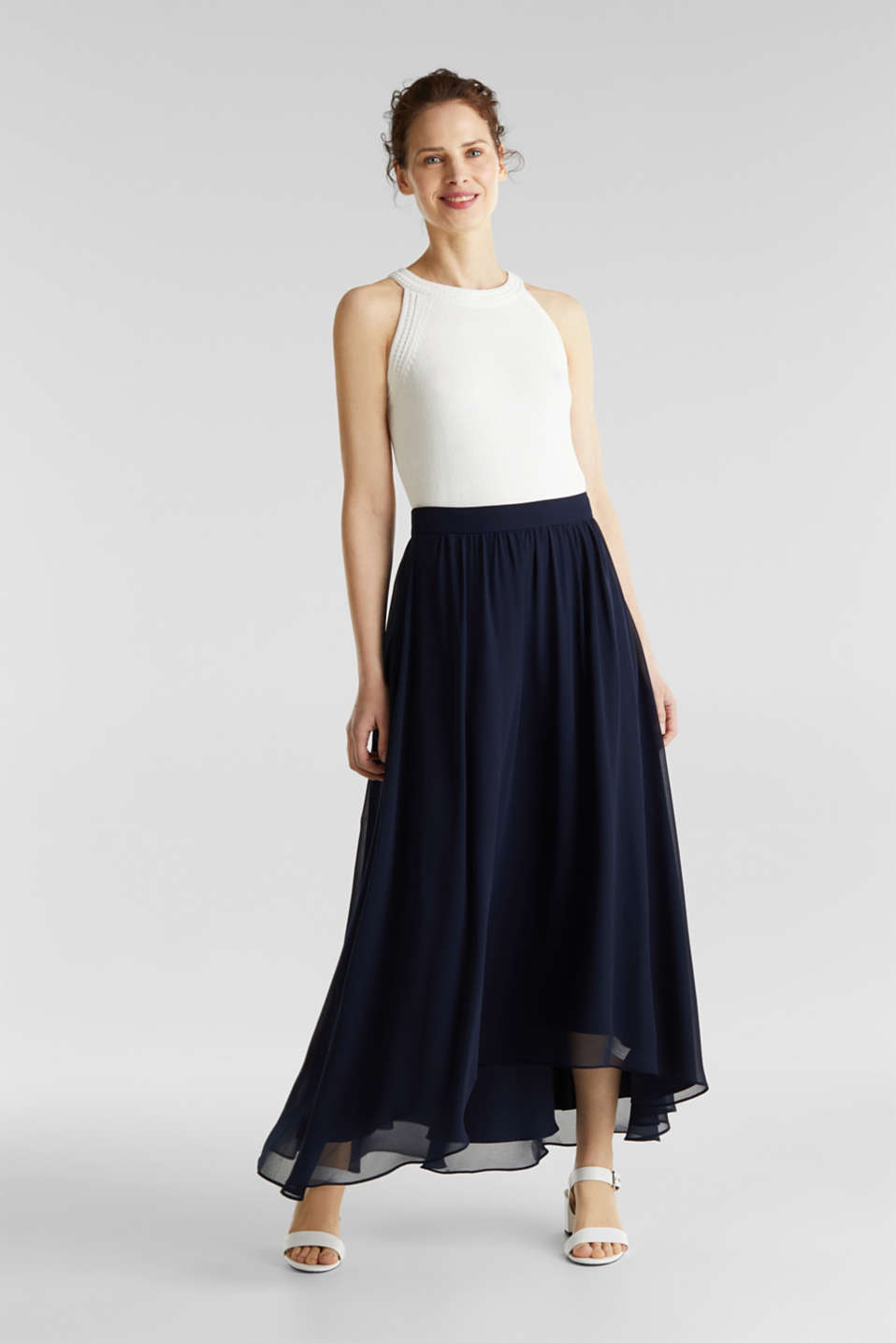 Chiffon maxi skirt, NAVY, detail image number 0