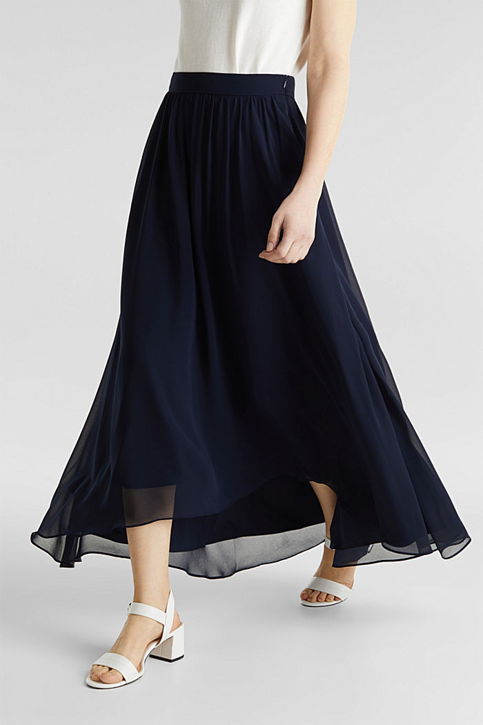 Maxi-Rock aus Chiffon, NAVY, detail image number 2