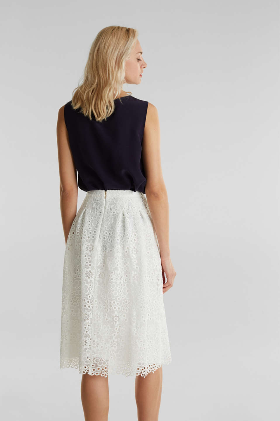 Lace midi skirt in A-line design, WHITE, detail image number 3