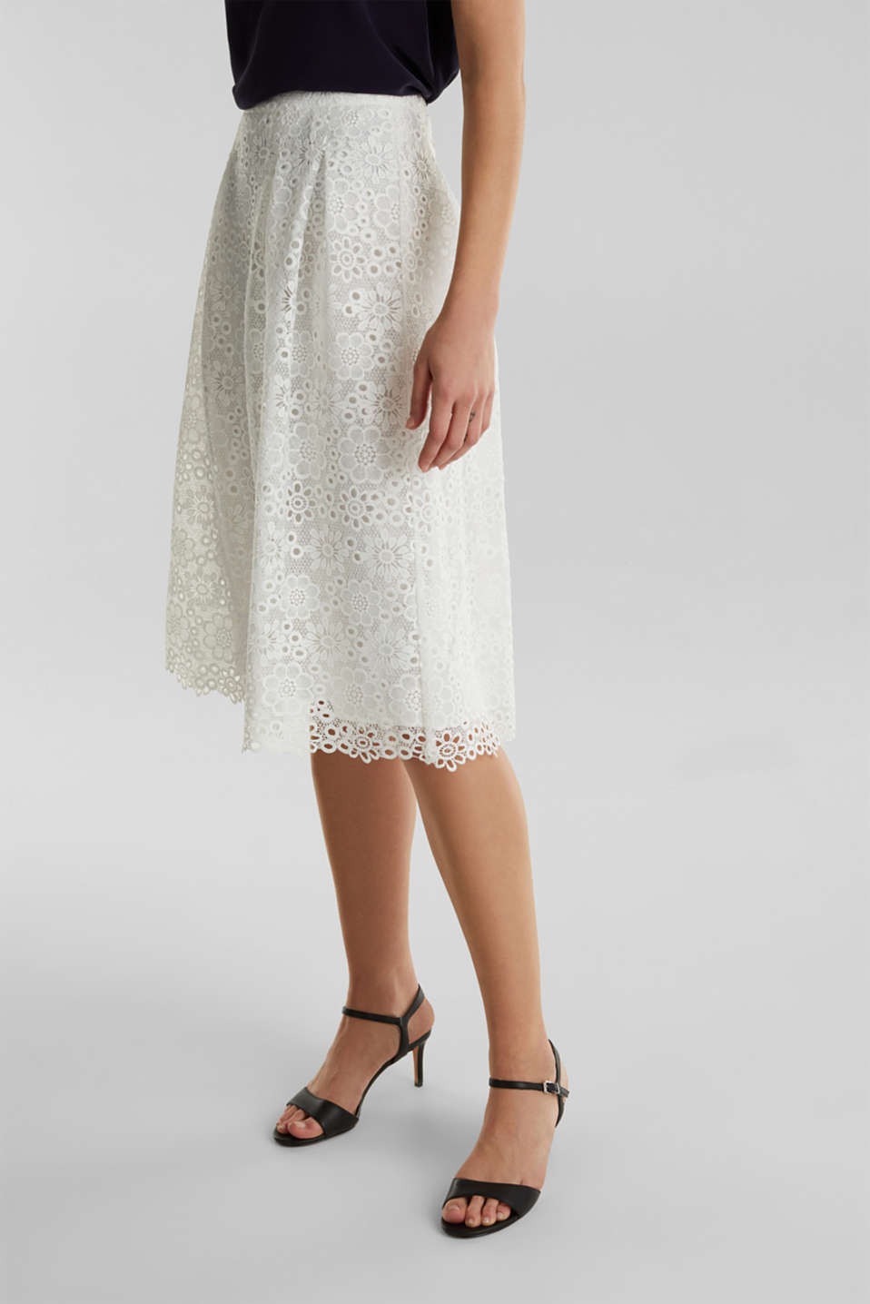 Lace midi skirt in A-line design, WHITE, detail image number 5