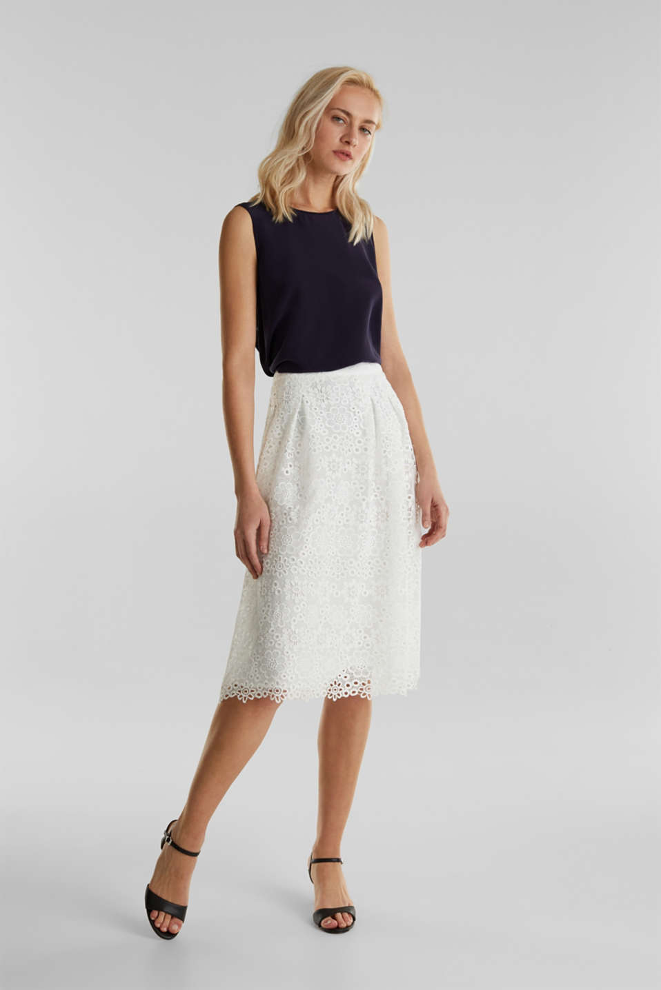 Lace midi skirt in A-line design, WHITE, detail image number 1