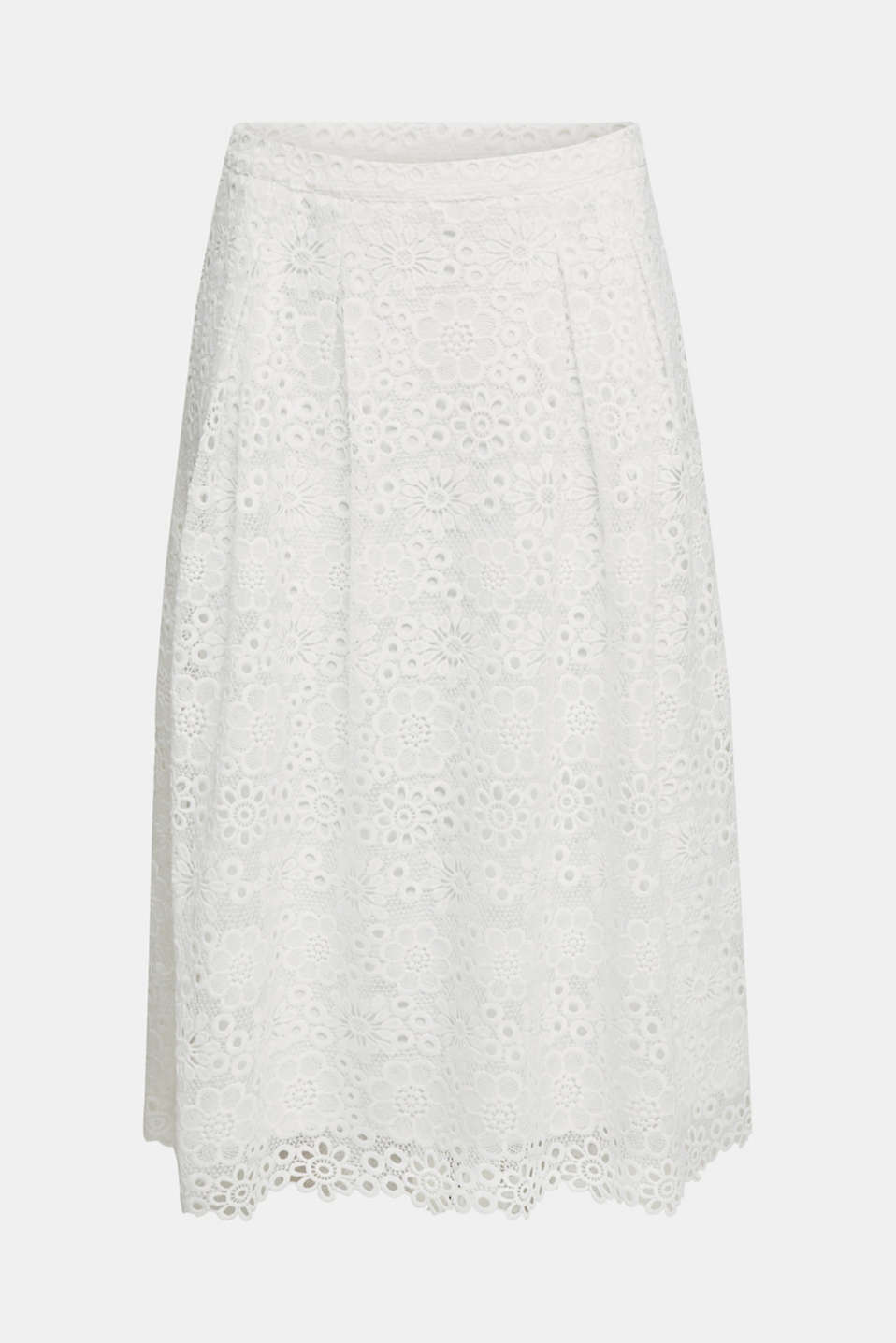Lace midi skirt in A-line design, WHITE, detail image number 6