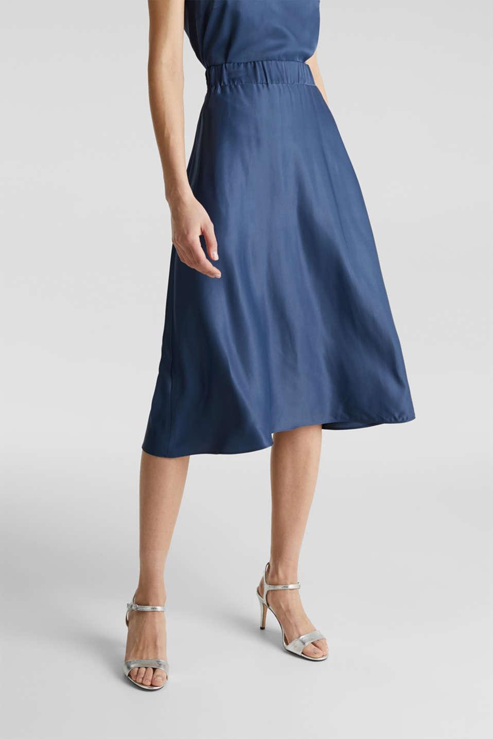 Flared satin skirt, PETROL BLUE 2, detail image number 4