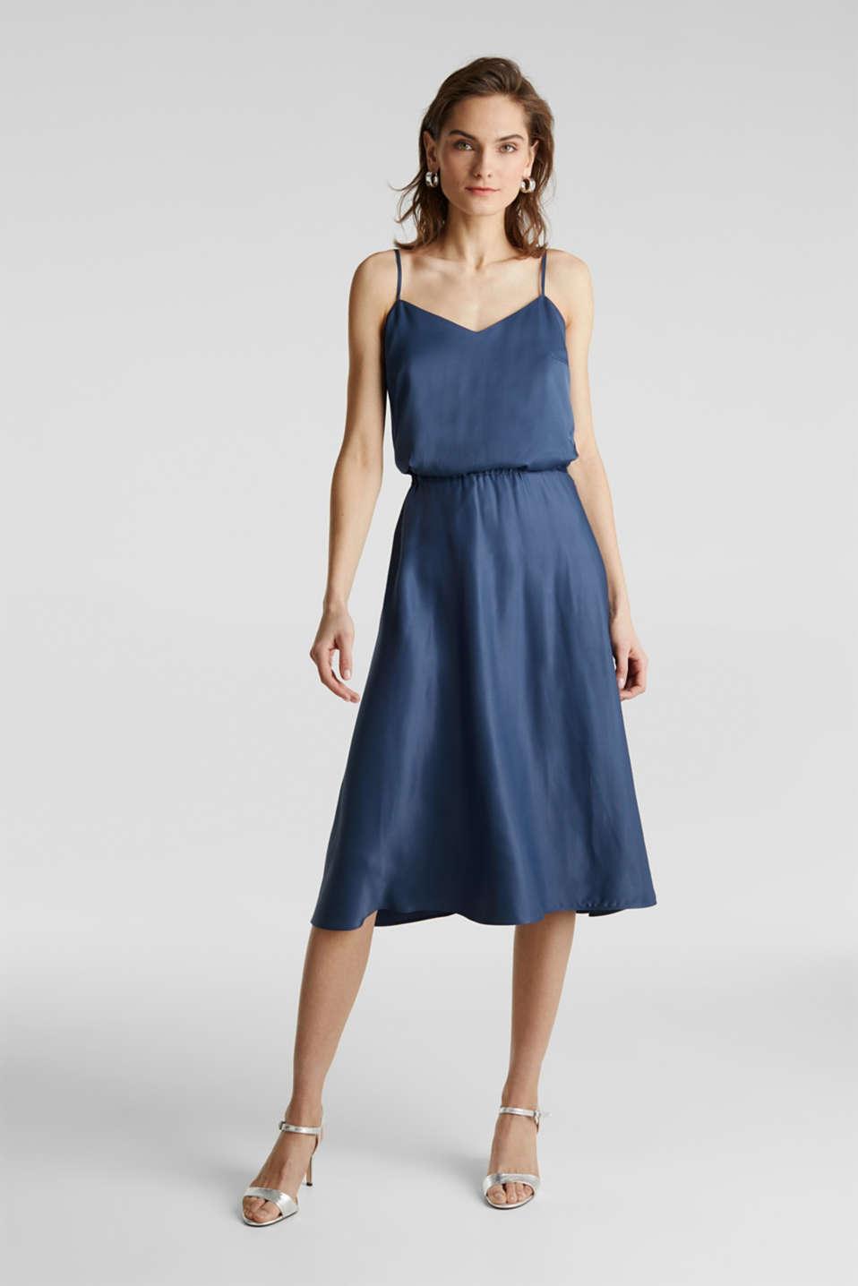 Flared satin skirt, PETROL BLUE 2, detail image number 1