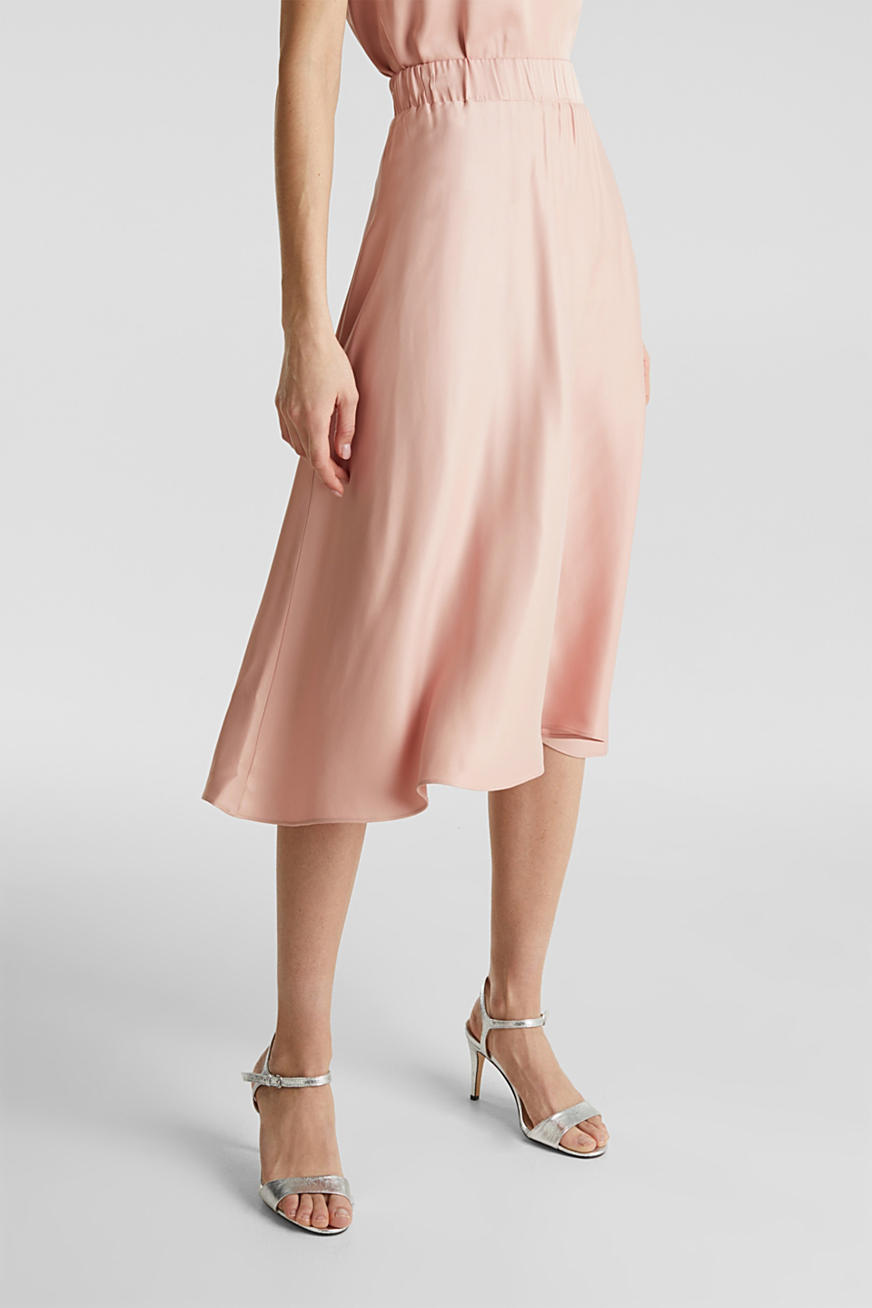 Flared satin skirt