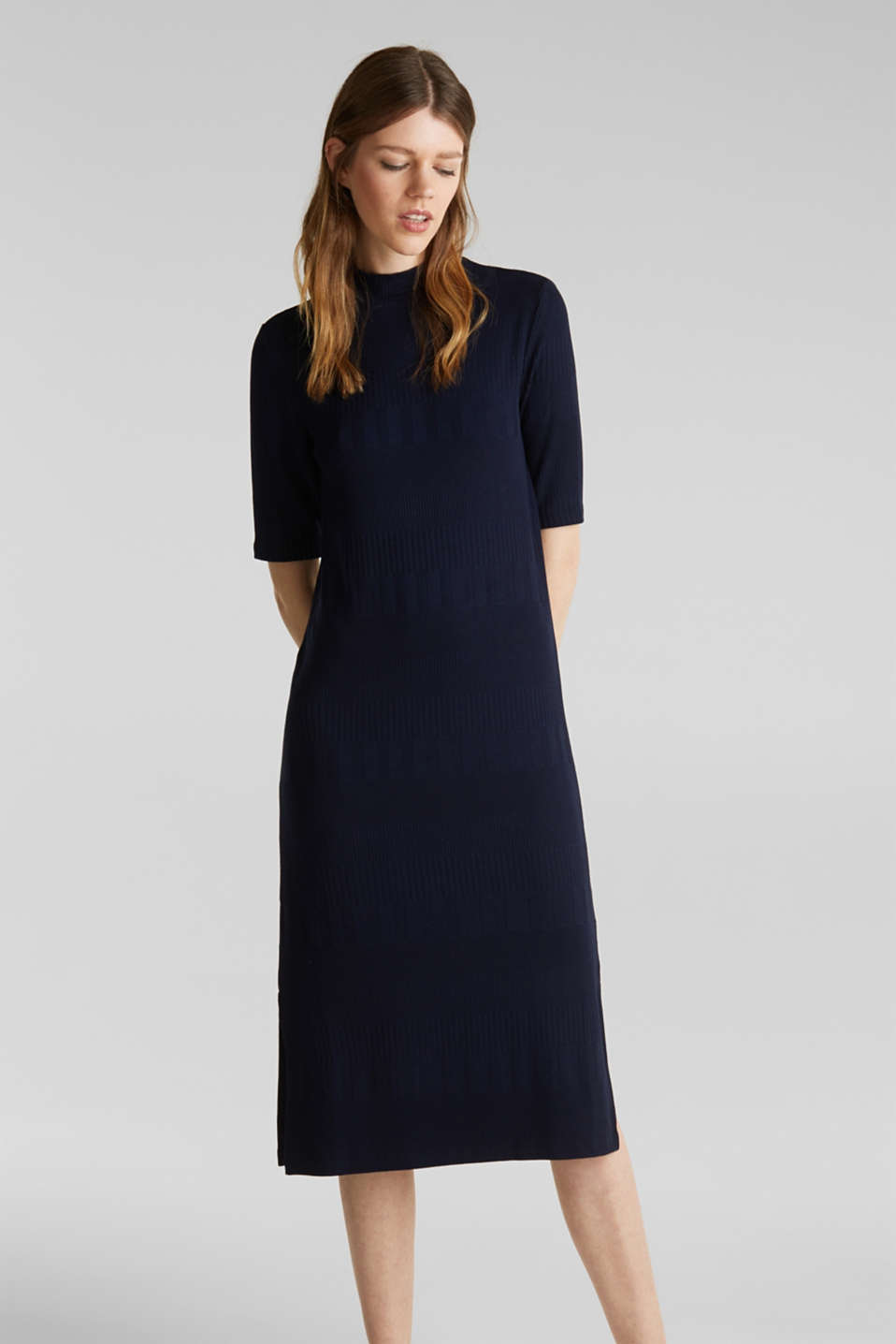 Esprit - Stretch jersey dress with texture and a stand-up collar