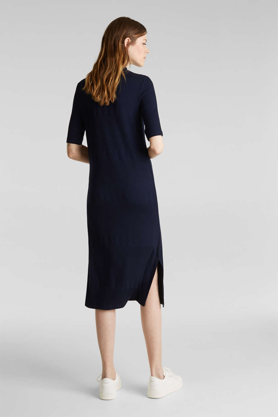 Stretch jersey dress with texture and a stand-up collar, NAVY, detail image number 2