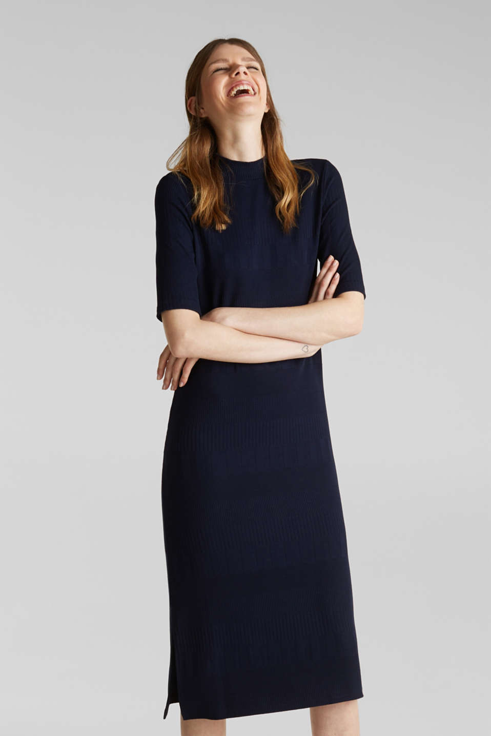 Stretch jersey dress with texture and a stand-up collar, NAVY, detail image number 5