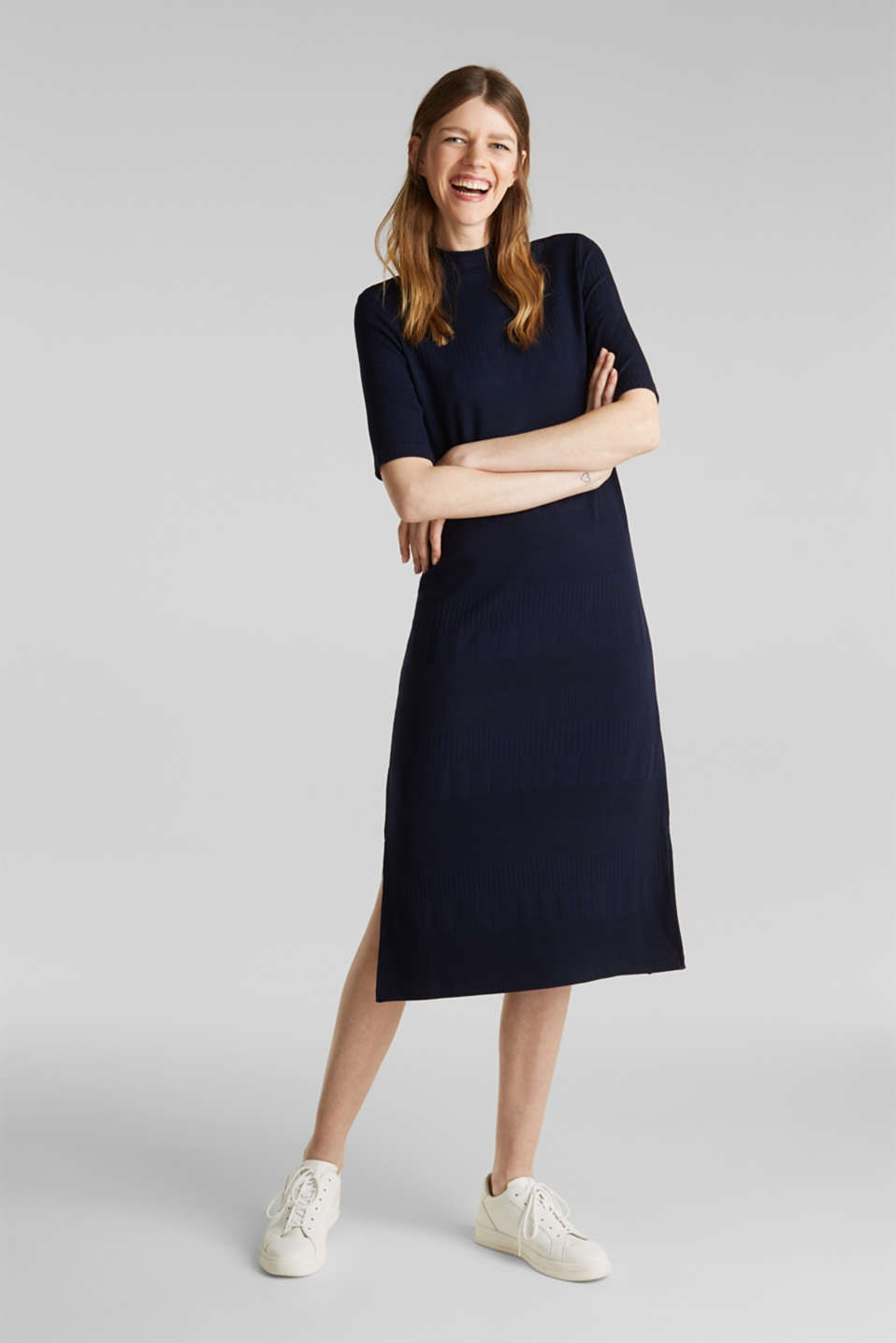 Stretch jersey dress with texture and a stand-up collar, NAVY, detail image number 1