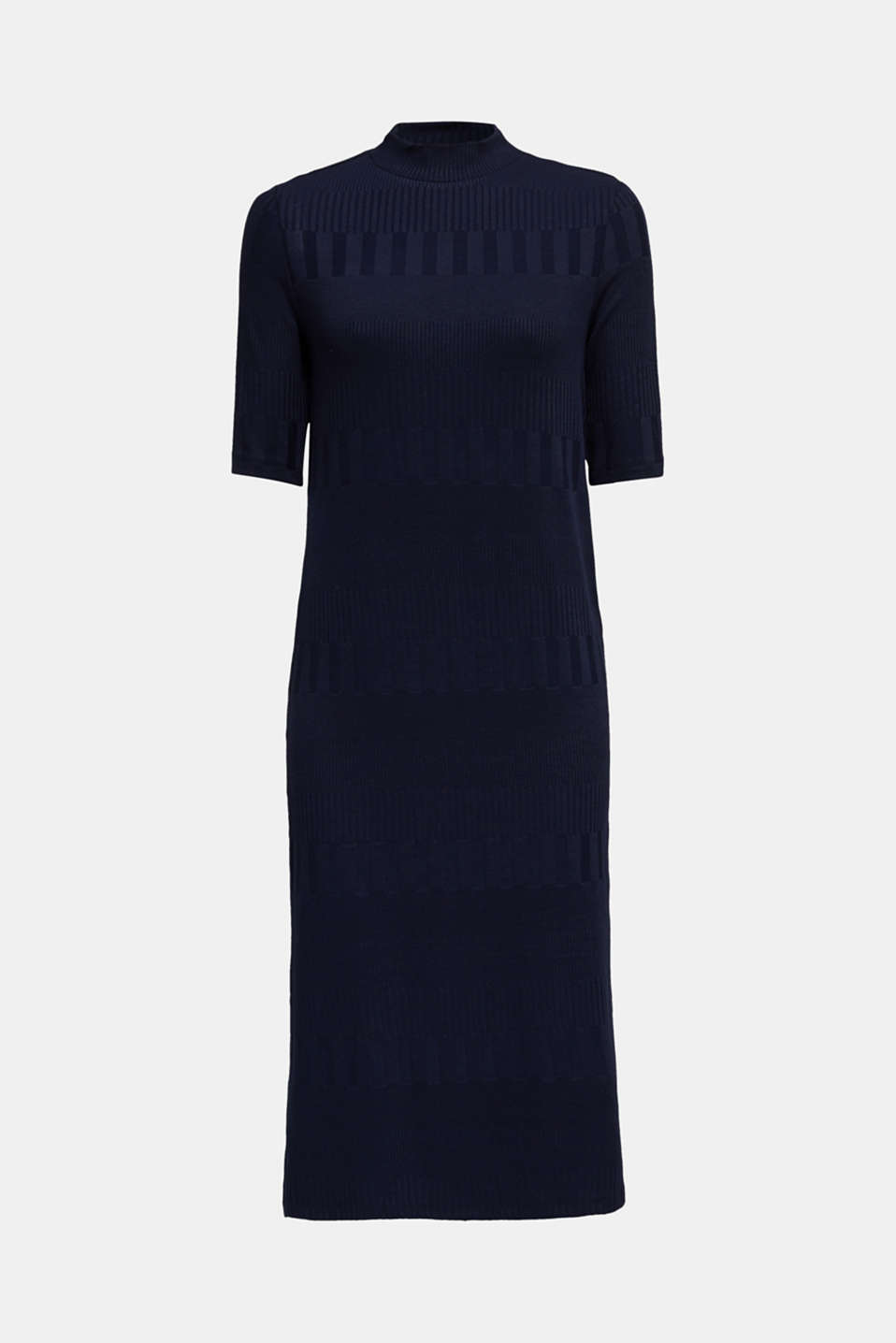 Stretch jersey dress with texture and a stand-up collar, NAVY, detail image number 7