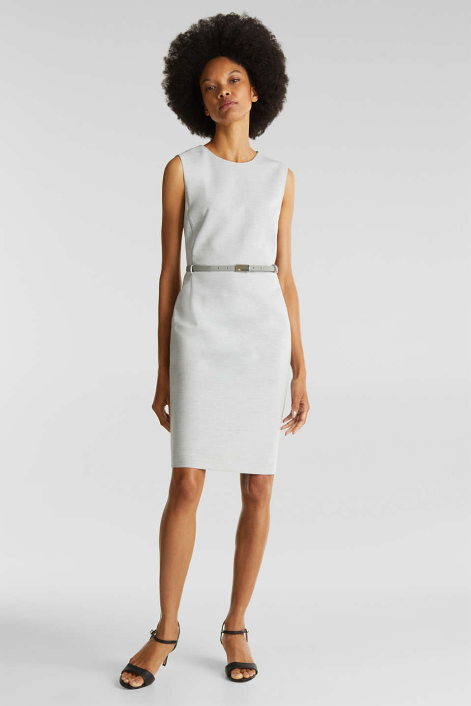 Sheath dress with a buckled belt, LIGHT GREY 5, detail image number 0