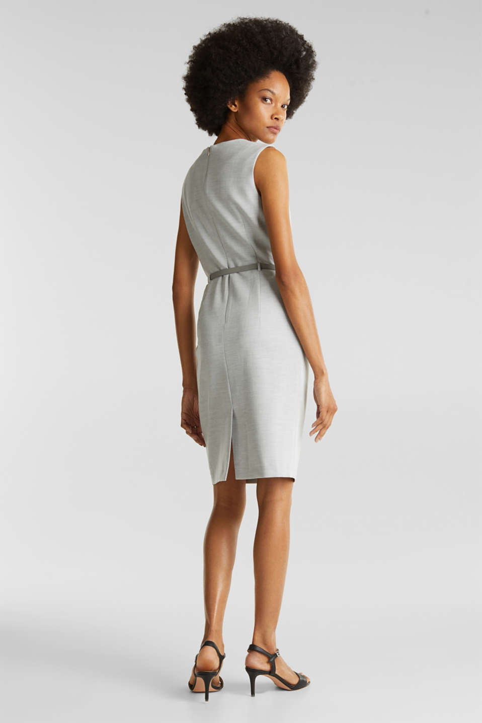 Sheath dress with a buckled belt, LIGHT GREY 5, detail image number 3