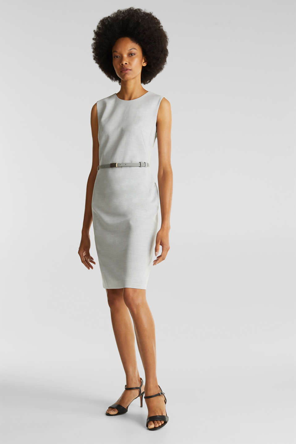 Sheath dress with a buckled belt, LIGHT GREY 5, detail image number 1