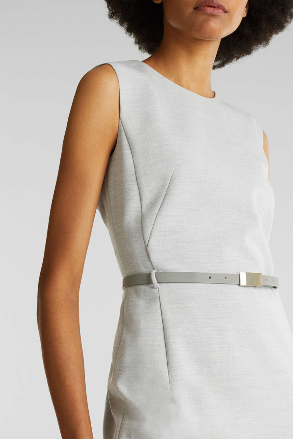 Sheath dress with a buckled belt, LIGHT GREY 5, detail image number 5