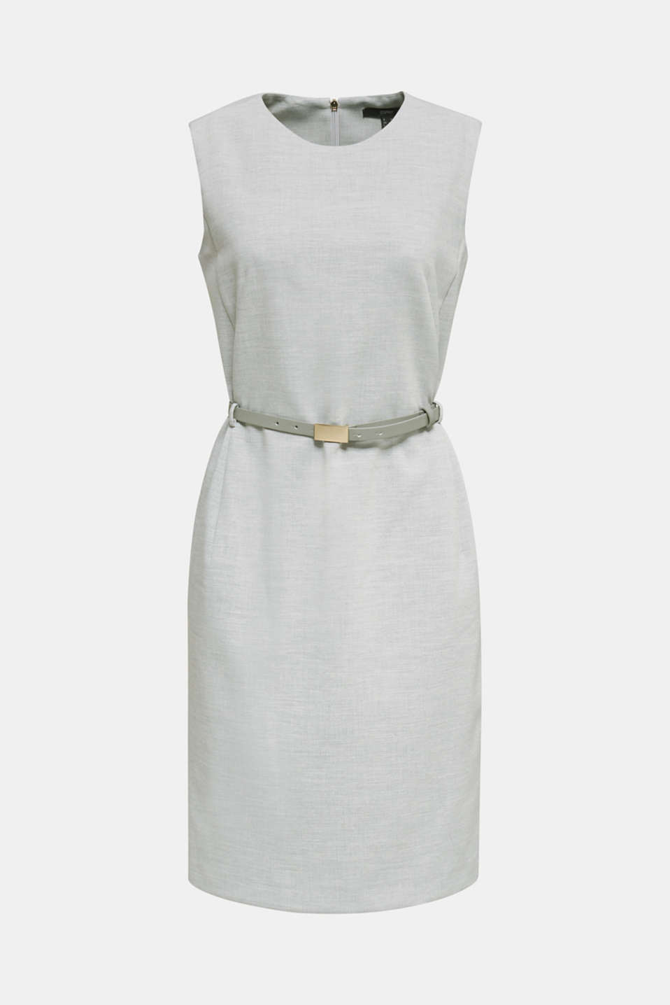 Sheath dress with a buckled belt, LIGHT GREY 5, detail image number 6