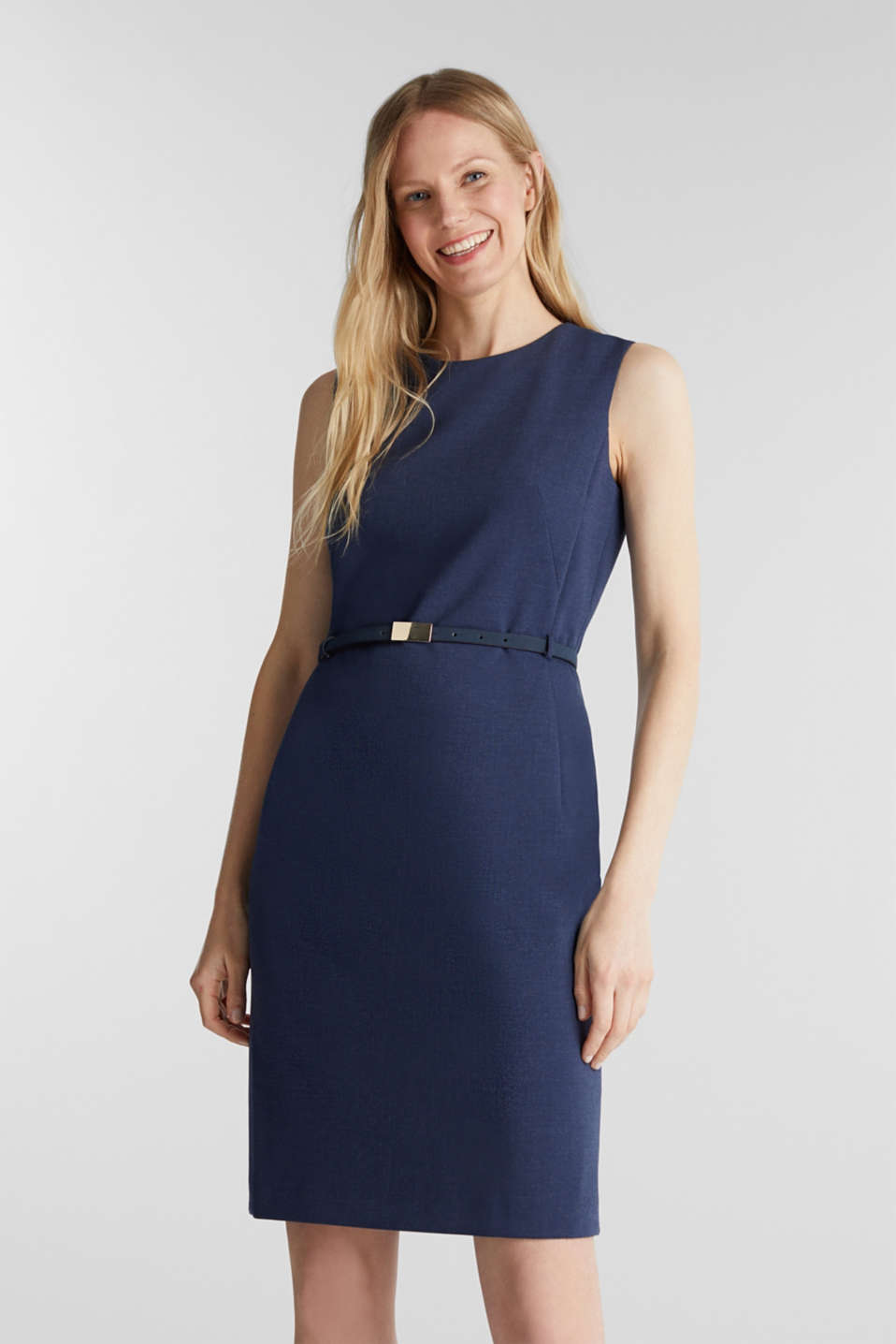 Esprit - Sheath dress with a buckled belt
