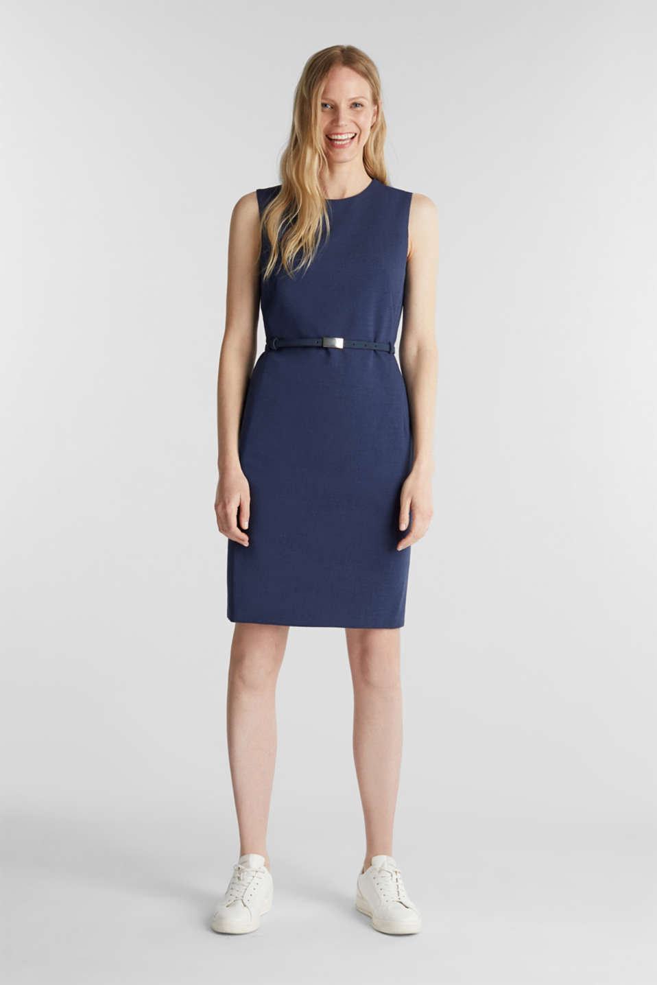 Sheath dress with a buckled belt, GREY BLUE 5, detail image number 1